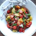caprese salad with homemade croutons