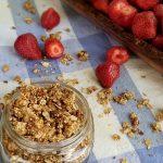 angle of granola and strawberries