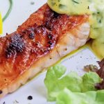salmon on plate with sauce