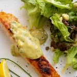 salmon with herbed mustard sauce overhead