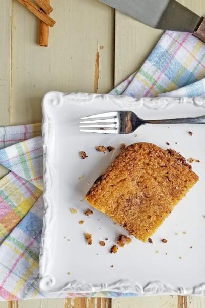cinnamon crumb cake on plate overhead shot