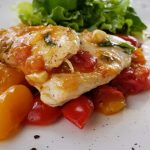 chicken with tomato basil on plate
