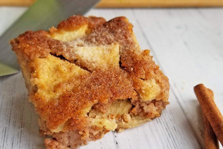 close up of cinnamon apple cake
