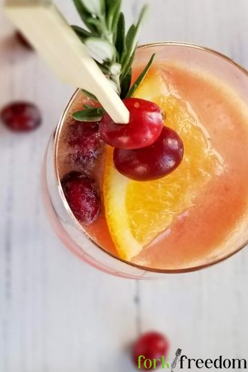 cranberry sparklers in glass