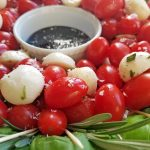 caprese salad wreath with balsamic