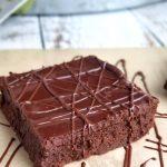 fudge brownies angle shot with spatula