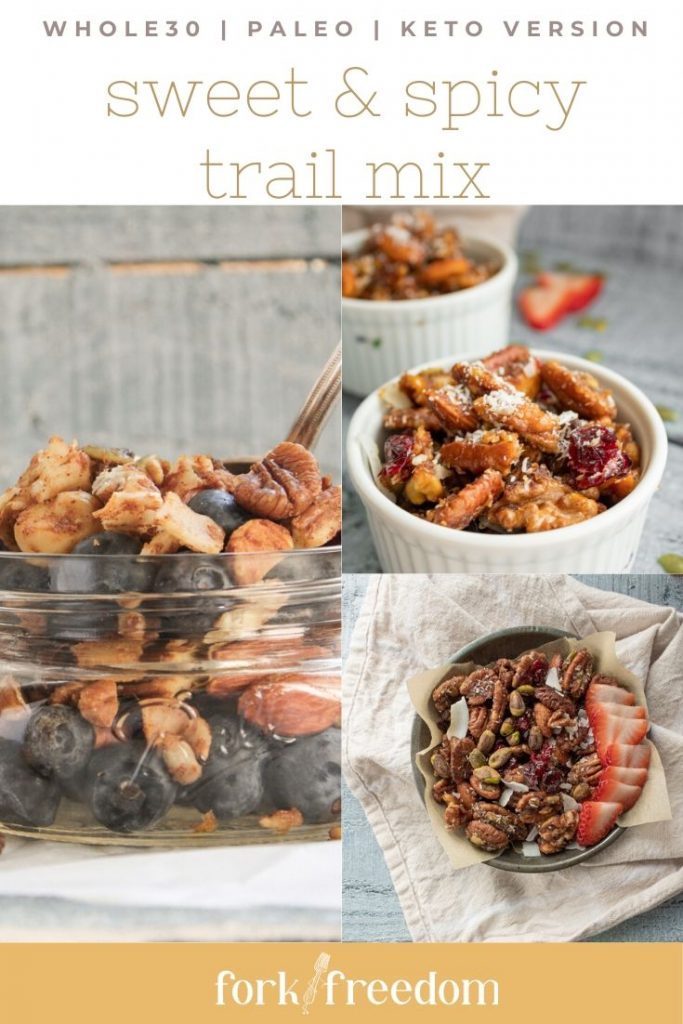 3 photos of trail mix