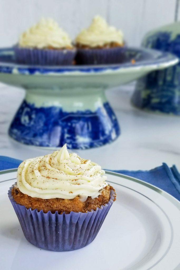 carrot cake cupcake on plate