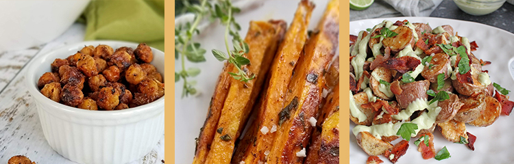 avoid food triggers with snacks like roasted chickpeas and sweet potato fries