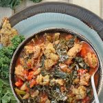 overhead of ribollita soup with kale