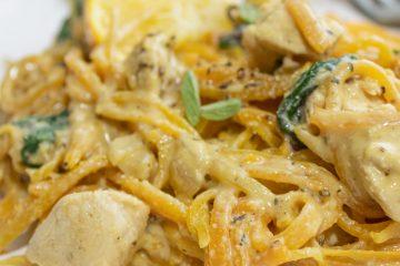 close up of butternut squash pasta