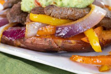 steak fajita on sweet potato