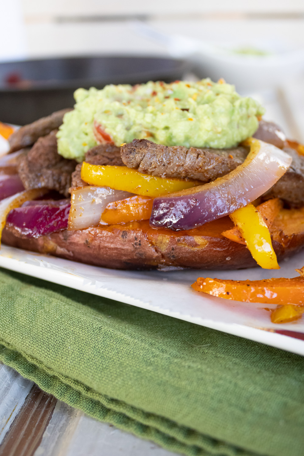 steak fajita on sweet potato