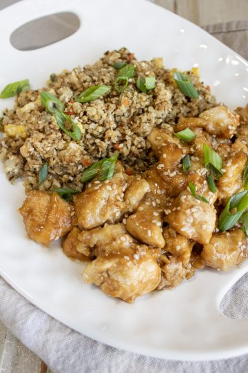 sesame chicken and fried rice