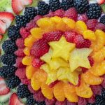 overhead shot of fruit pizza