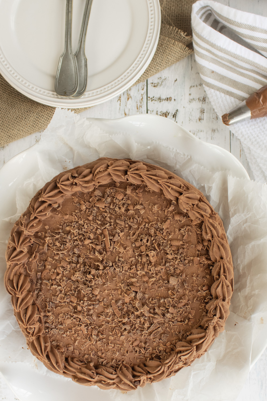 overhead of chocolate cake