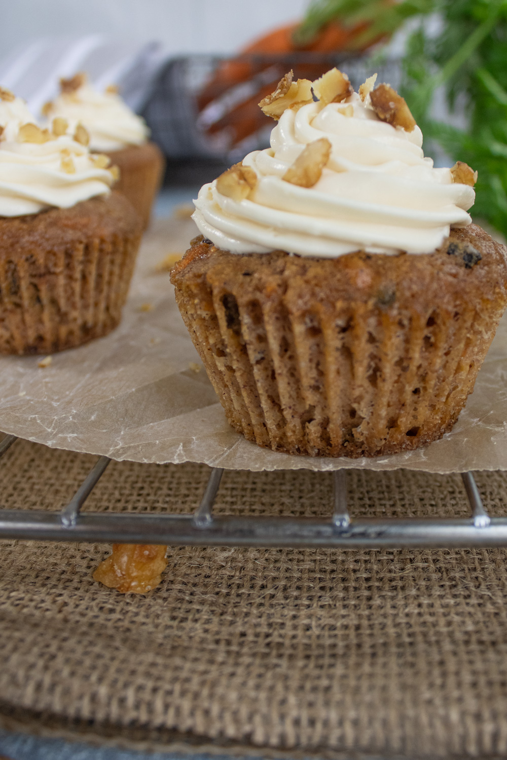 angle of carrot cake cupcakes