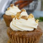 close up of carrot cake cupcake