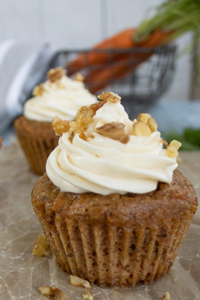 close up of carrot cake cupcake
