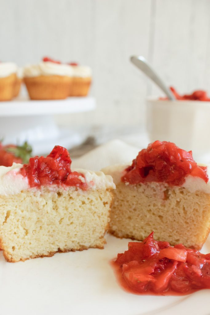 inside of strawberry shortcake cupcake