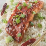 bbq salmon with green onions