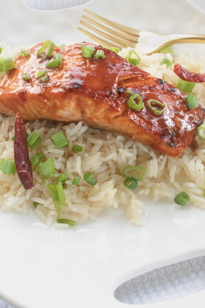 bbq salmon on rice with fork