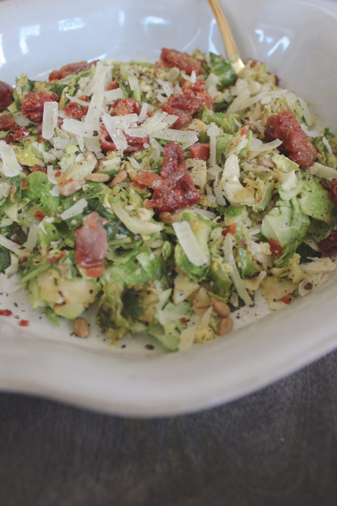 shredded brussels sprouts salad in bowl