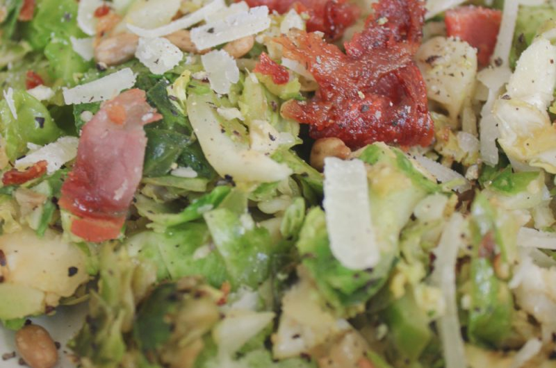 Cacio e pepe Brussels sprouts salad with crispy prosciutto croutons