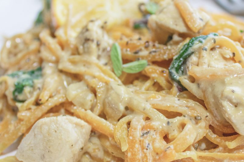 cozy butternut squash noodles with chicken and stunning cream sauce