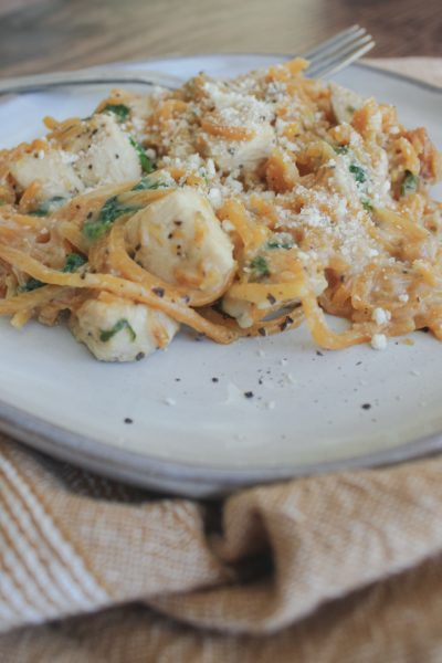 butternut squash pasta on plate with fork
