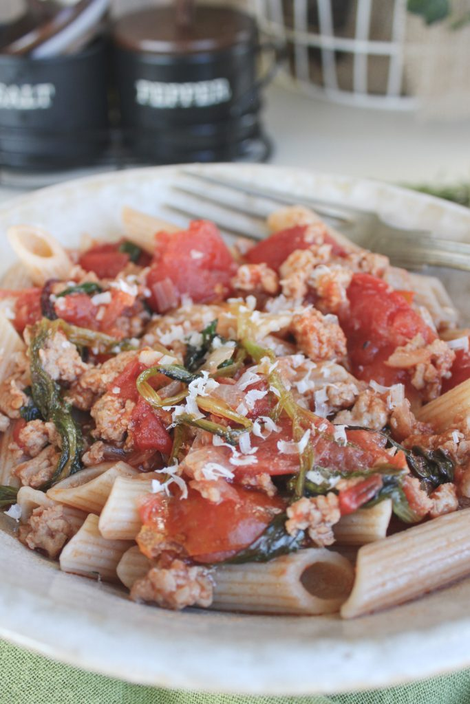 chicken sausage pasta with pecorino cheese
