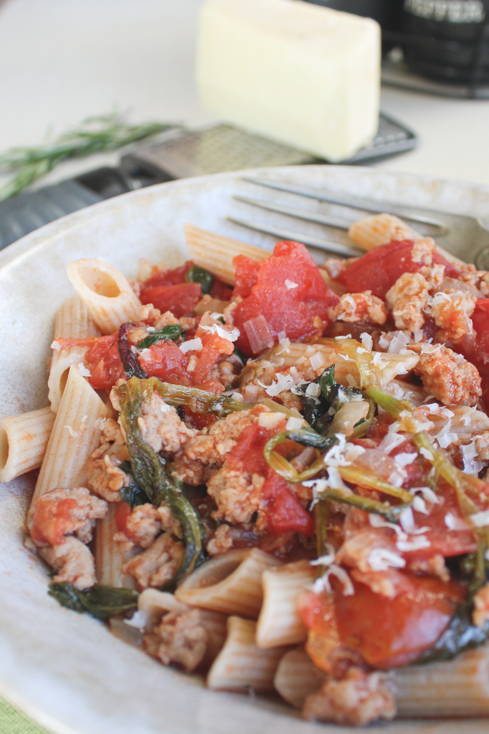chicken sausage pasta with pecorino block