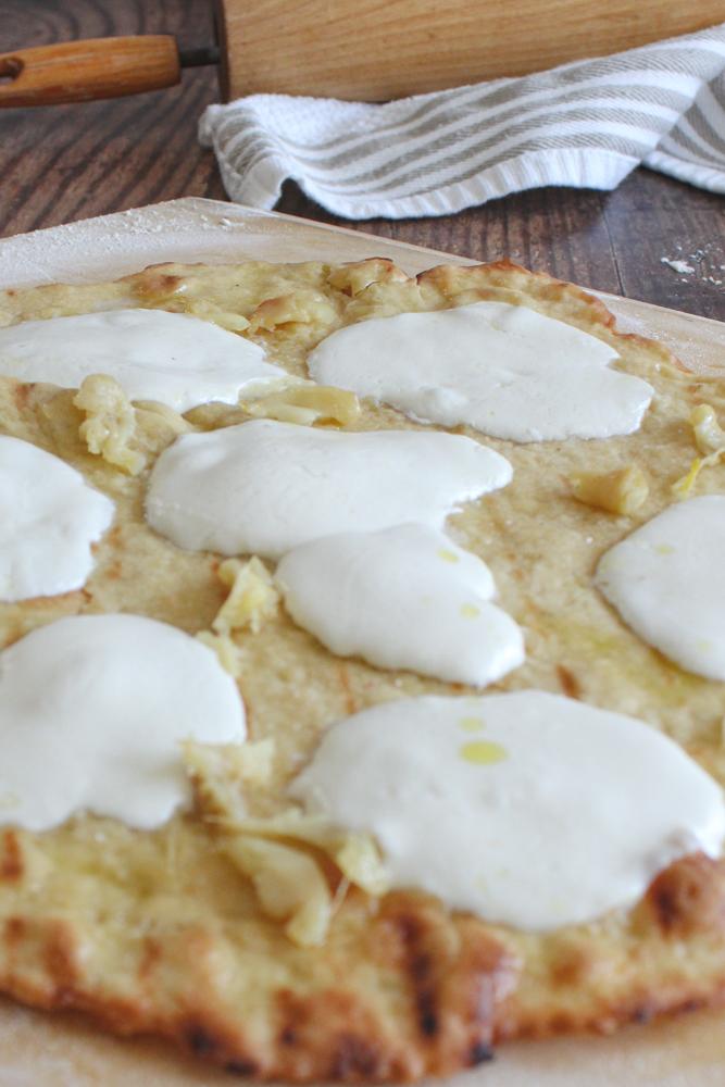 pizza crust with mozzarella