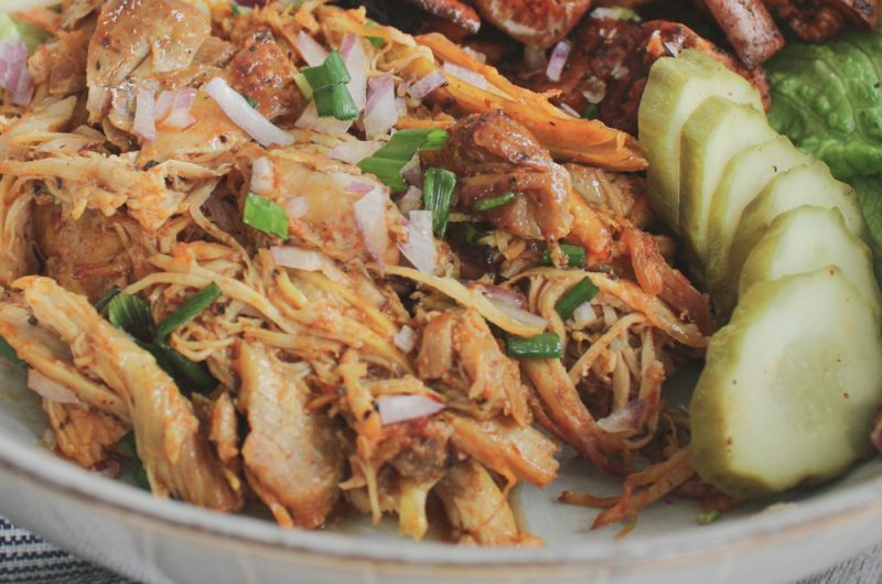 instant pot pulled chicken bowl with spicy slaw