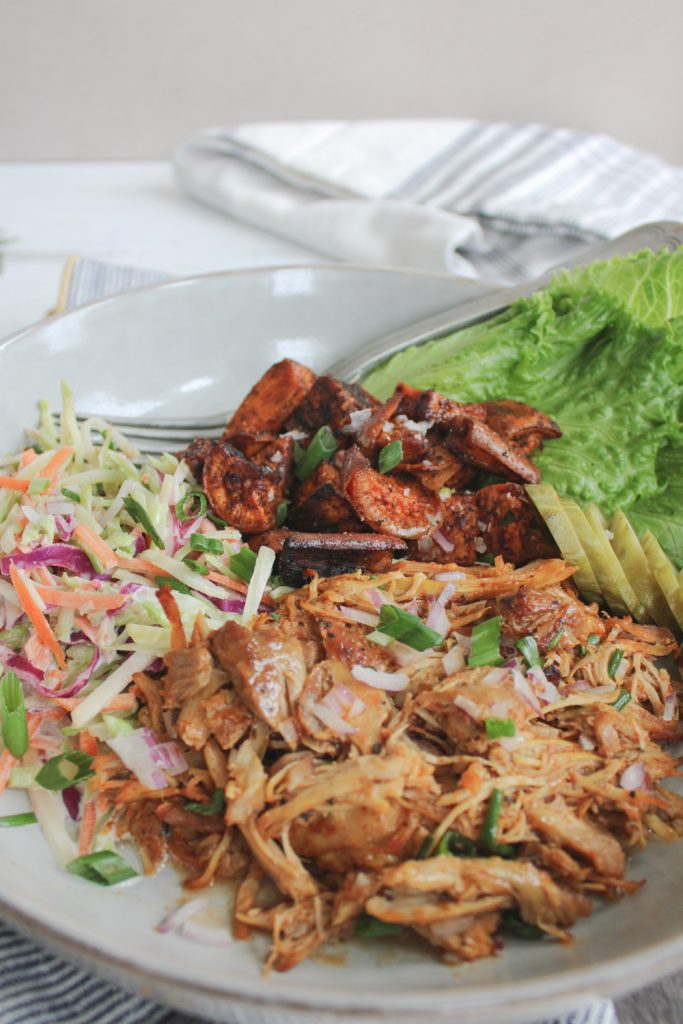 angle shot of bbq chicken bowl with fork