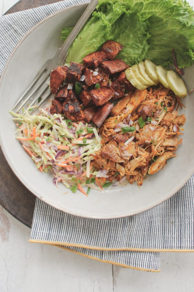 bbq chicken bowl with slaw and sweet potatoes