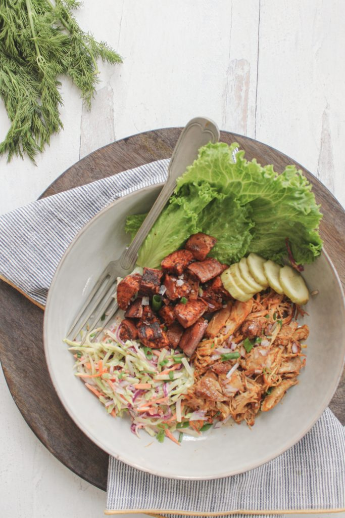 overhead shot of bbq pulled chicken bowl