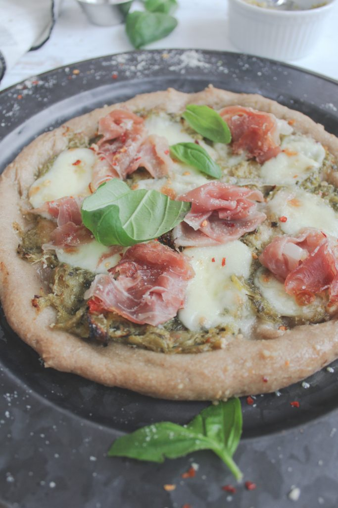 healthy homemade pizza with basil