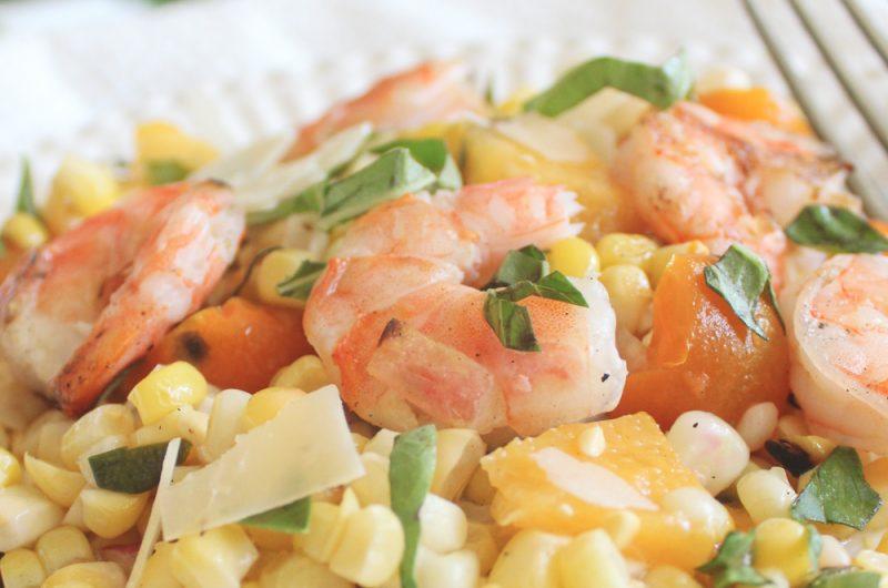 grilled lemon shrimp with corn, peach salad