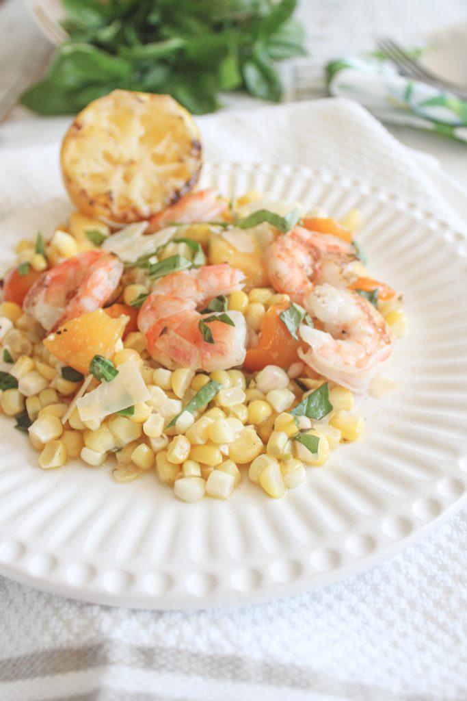 lemon shrimp on corn with basil