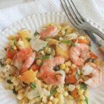 angle shot of shrimp on corn