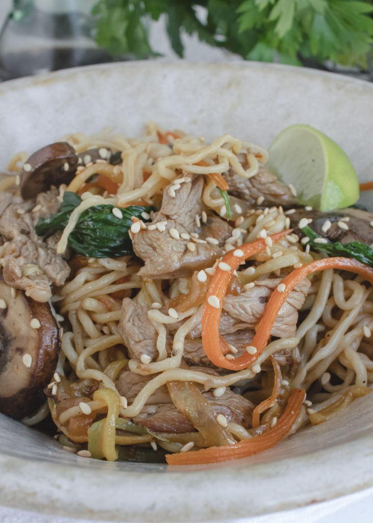angle shot of beef lo-mein