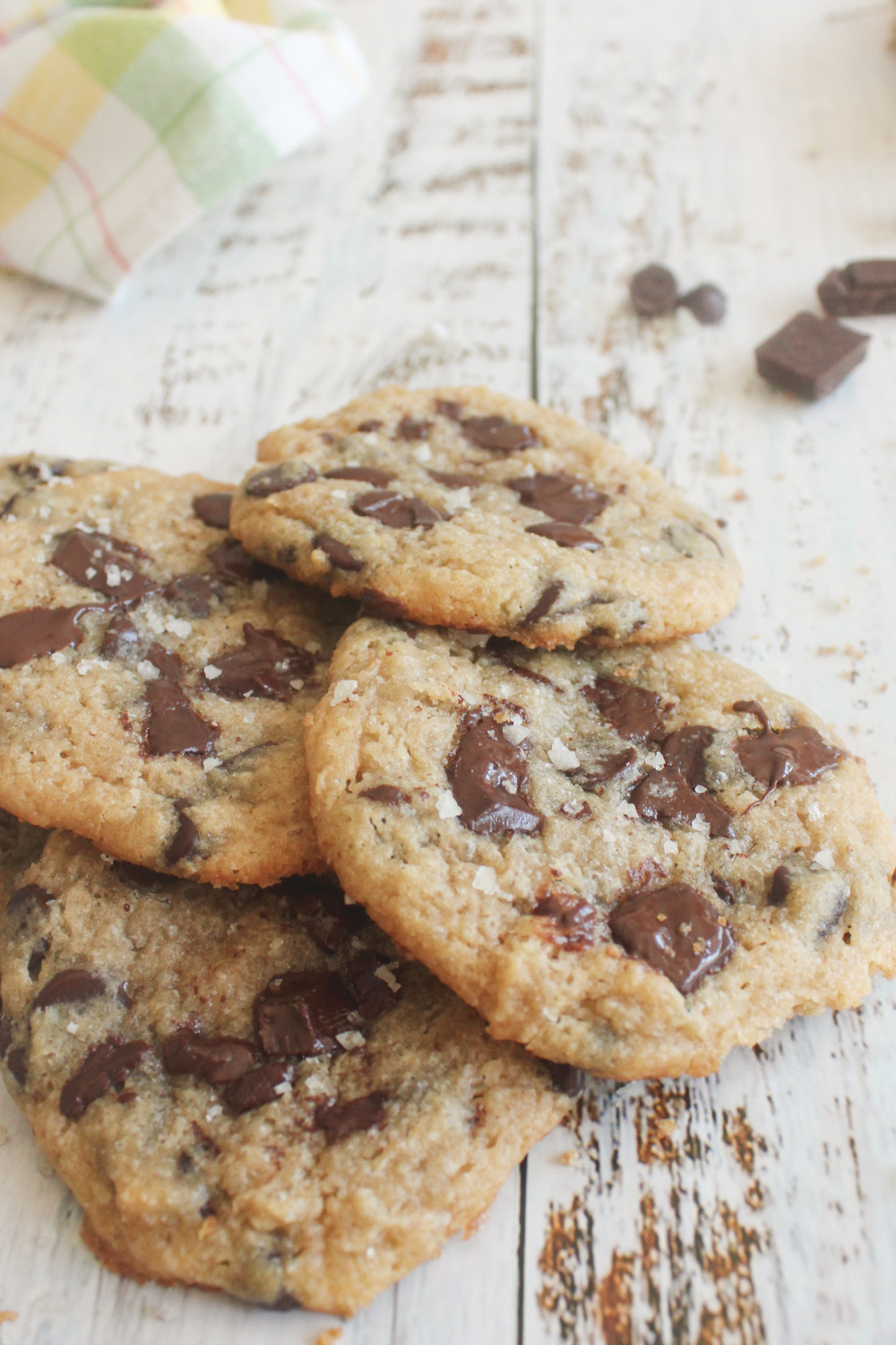 4 chocolate chips cookies in a pile