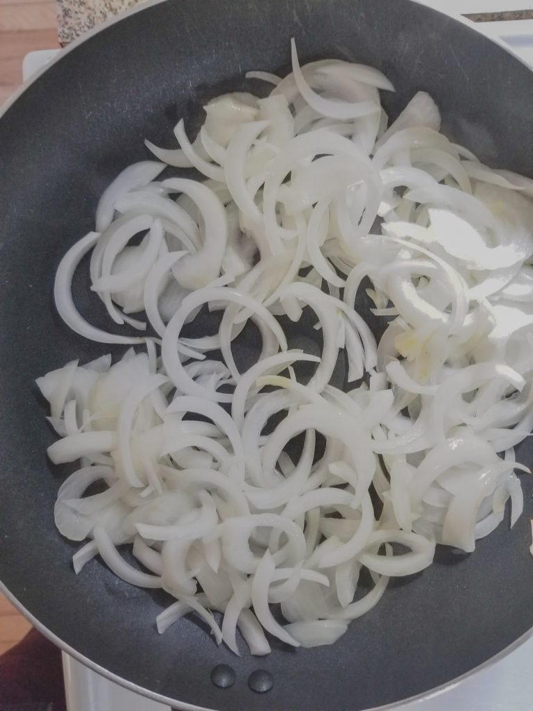 onions in saute pan