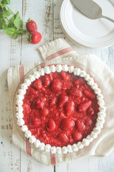 strawberry pie on towel