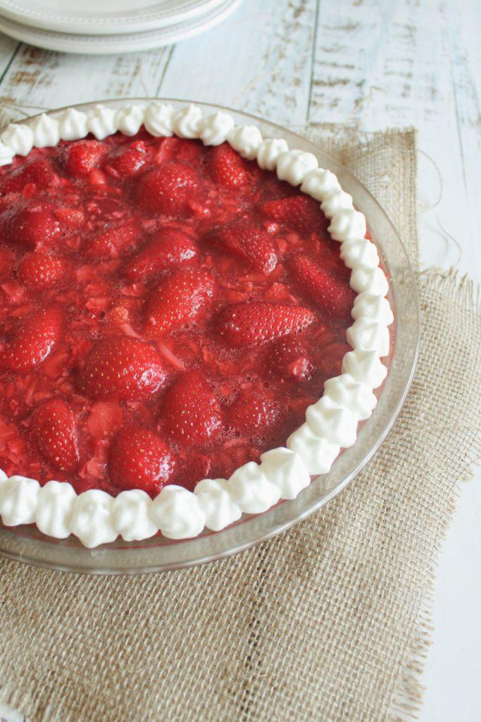 close angle shot of strawberry pie