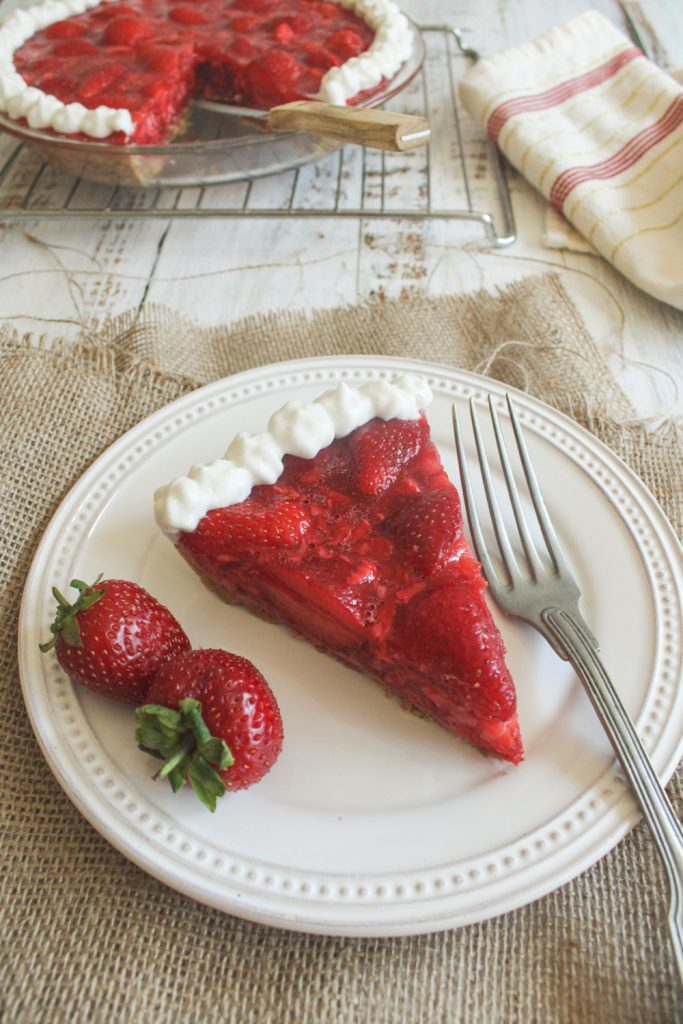 slice of strawberry pie with fork