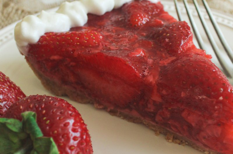 Fresh strawberry pie with graham cracker crust
