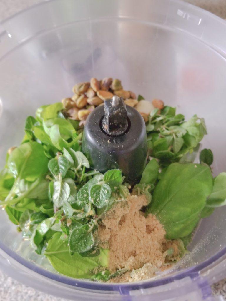 herbs in food processor