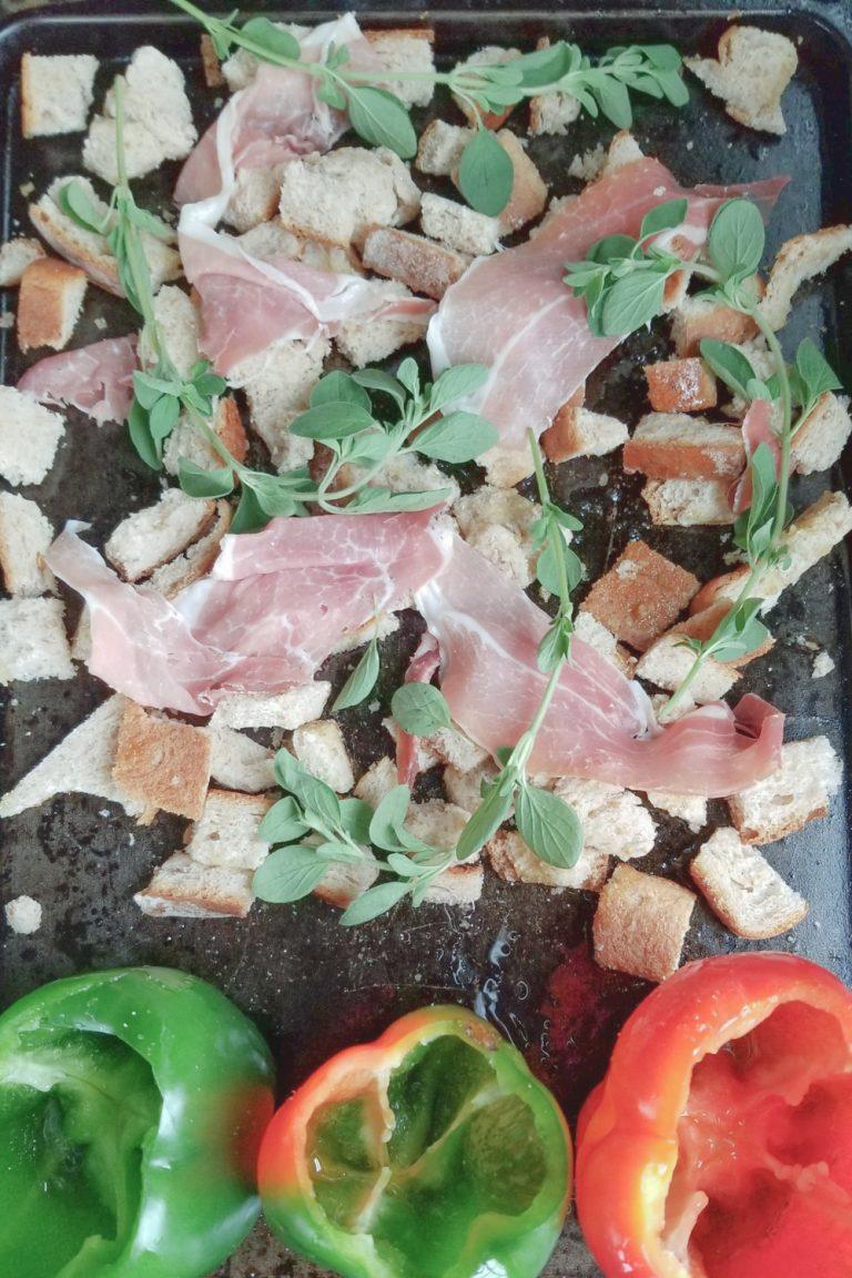 bread, prosciutto, oregano and peppers